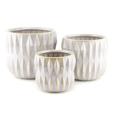Geometric Ribbed Matt White Pot Planter, Available in 3 Sizes