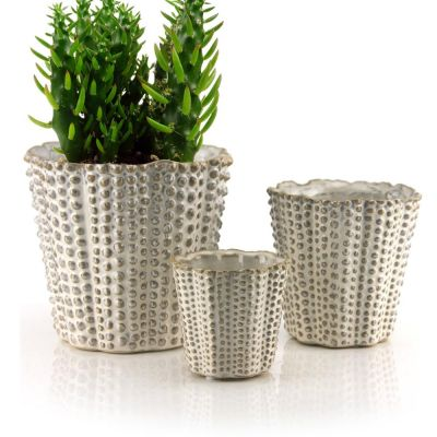 White HOBNAIL TAPERED CERAMIC VASE