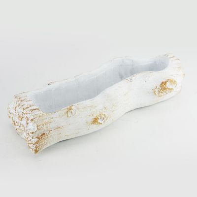 "Ceramic White Log Planter with Plastic Liner. H-3"" (Free Shipping)"