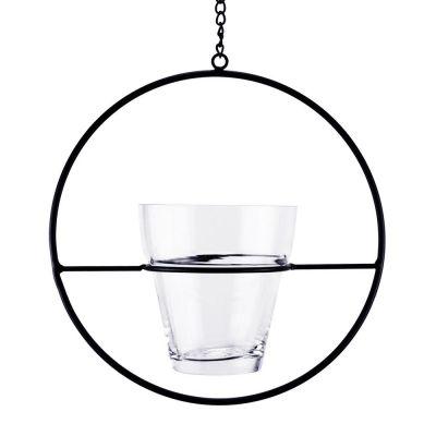 """H-18"""" Hanging Ring Terrarium Planter with Metal Ring."""