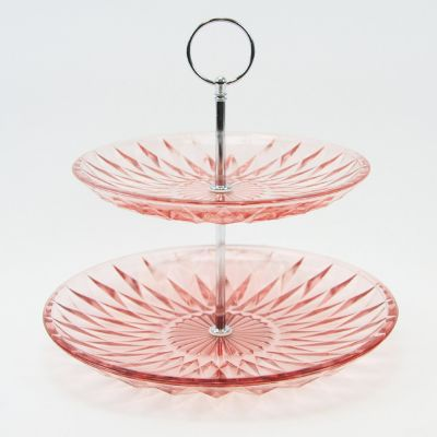 "9.5"" Pink 2 Tiers Cake Stand"