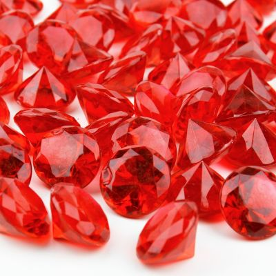 "1.2"" Red Acrylic Crystal Diamond Gemstone Vase Fillers"