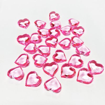 "1.18"" Heart Shaped Pink Color Acrylic Vase Fillers"