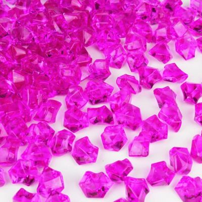 "1"" Acrylic Ice Shaped Fuschia Colored Vase Fillers"