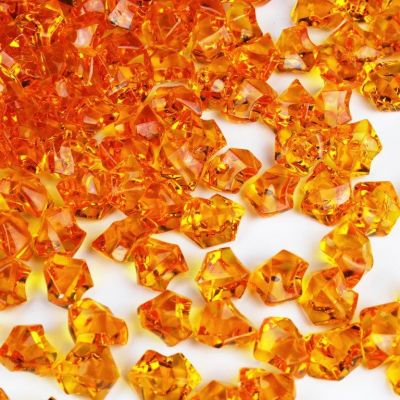 """1"""" Acrylic Ice Shaped Orange Colored Vase Fillers"""