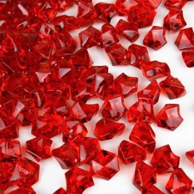 Red Acrylic Crushed Ice Bowl Vase Fillers