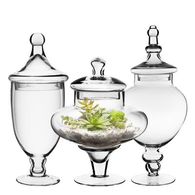 "Set of 3 Glass Apothecary Jars Candy Buffet Containers - H: 14.75"", 13.5"", 10"""
