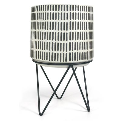 Black and White Ceramic Planter with Stand. 3 Sizes Available