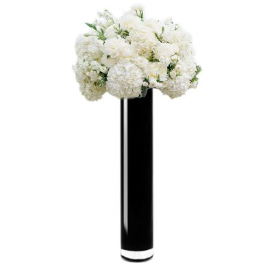 "24"" Decorative Black Glass Cylinder Vase"