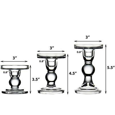 "H-3.75"", 4.5"", 5.5"" Bubble Glass Pillar, Taper Candle Holder, Set of 3 pcs"