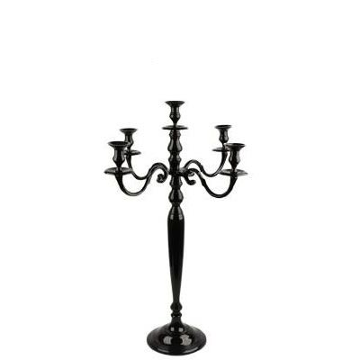 Black Metal 5 Branches Candelabra. H-24""