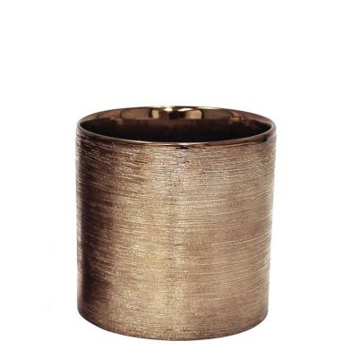 "Etched 6"" Copper Metallic Cylinder Pot"
