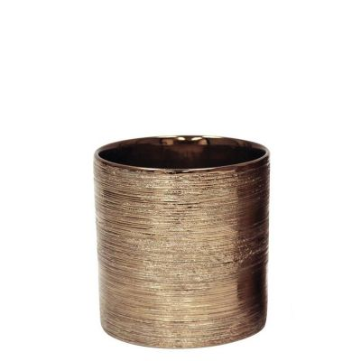 "Etched 5.25"" Copper Metallic Cylinder Pot"