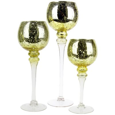 "3-Piece Set, Metallic Gold Crackle Mercury Glass Candle Holders. H-12"", 14"", 16"" (Free Shipping)"