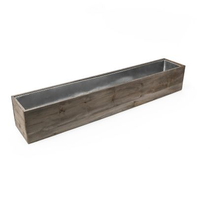 "4"" x 34"" x 4"" Natural Wood Rectangle Planter Box w/ Zinc Metal Liner"