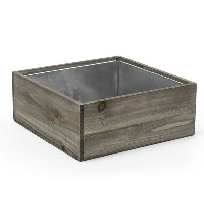 "4"" x 10"" x 10"" Square Natural Wood Planter Box w/ Zinc Liner"