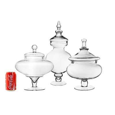 "Jumbo Glass Apothecary Jars Candy Buffet Containers - H: 13.5"", 21.5"", 15"""
