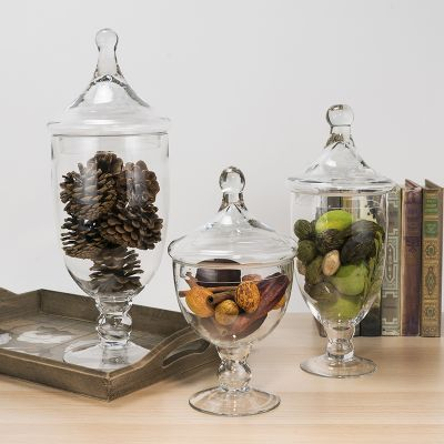 3 pcs Set, Clear Glass Apothecary Jar Candy Containers