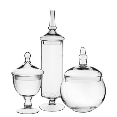 "Set of 3 Glass Apothecary Jar Candy Buffet Containers, H-9.5"", 22"", 10"""