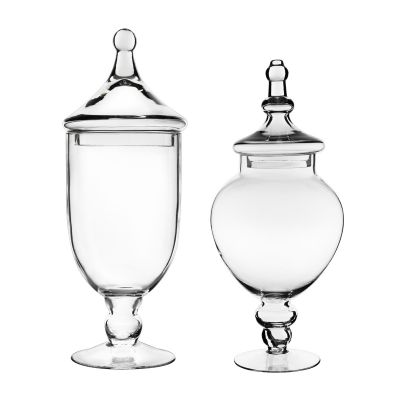 "Glass Apothecary Jars Candy Buffet Containers - H: 16.5"", 14.7"" (Free Shipping)"