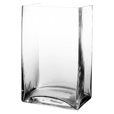 "9.5"" Rectangular Glass Vase"