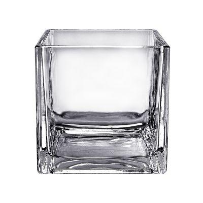 "6"" Decorative Cube Glass Vase"