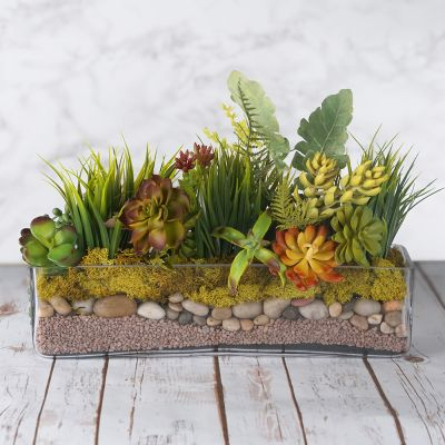 "4"" Long Rectangular Glass Vase Planter"