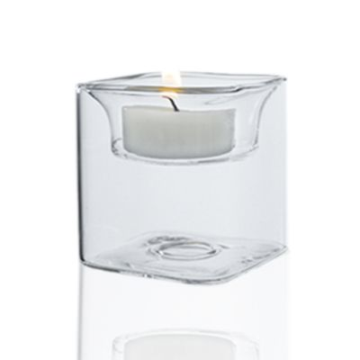 "2.5"" Tealight Square Glass Reversible Candle Holder"