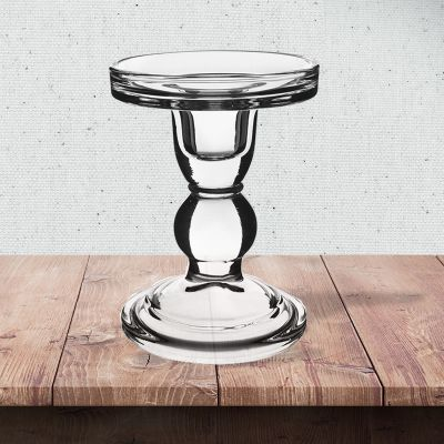 """4.5"""" Bubble Glass Pillar, Taper Candle Holder"""