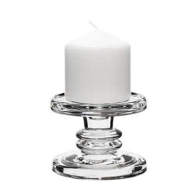 "3.25"" Classic Style Glass Taper & Pillar Candlestick 2 Pack"
