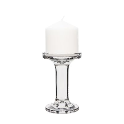 "5.25"" Modern Style Glass Pillar & Taper Candlesticks"