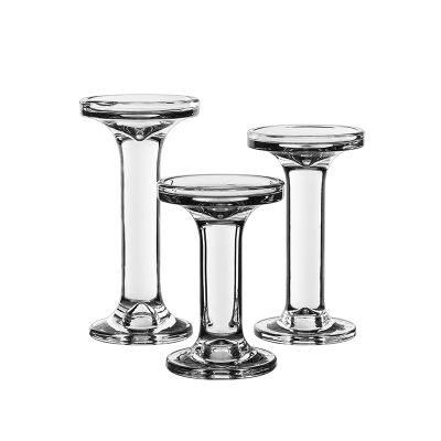 3-Piece Set, Modern Style Glass Pillar & Taper Candlesticks