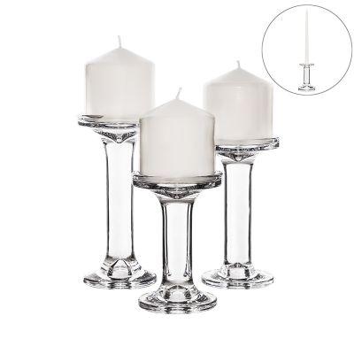 """3 pcs Glass Pillar & Taper Candlesticks H-5.25"""", 6.25"""" 7.25"""""""