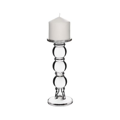 "9.25"" Bubble Stem Glass Taper & Pillar Candlestick"