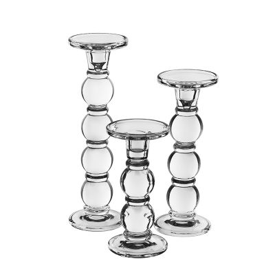 3-Piece Set, Bubble Stem Glass Taper & Pillar Candlesticks