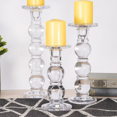 "3 pcs Bubble Stem Glass Taper & Pillar Candlesticks 7.5"", 9.5"", 11.5"""