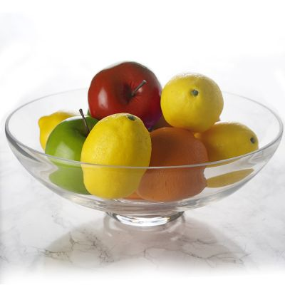 "Clear Glass Footed Fruit Bowl H-4.5"" D-12"""