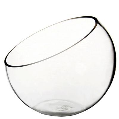 "7"" Slant Cut Asymmetrical Glass Bowl Vase Plant Terrarium Pod"