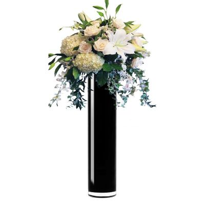 "20"" Decorative Black Glass Cylinder Vase"