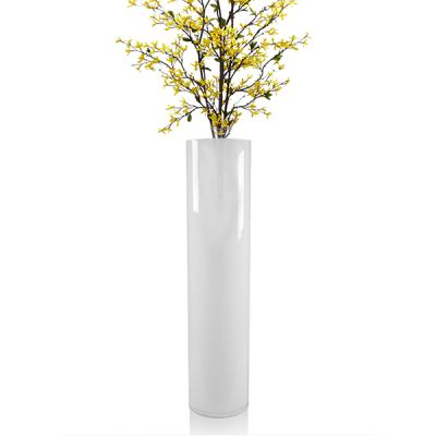 "26"" Decorative White Glass Cylinder Vase"