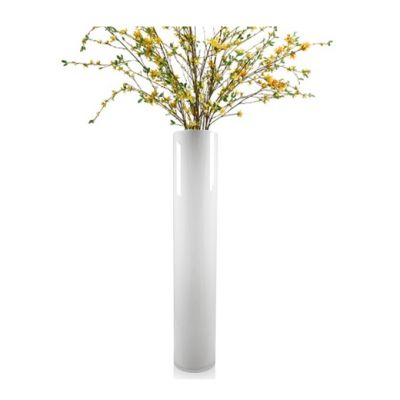 "32"" Decorative White Glass Cylinder Vase"