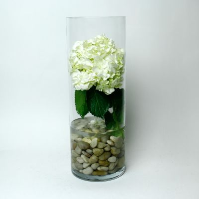 "22"" Decorative Clear Glass Cylinder Vase"