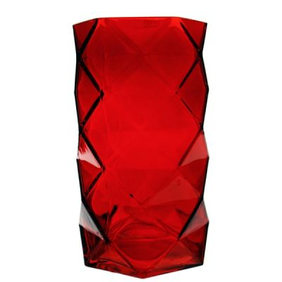 "7.5"" Geometric Red Glass Vases Candle Holder"