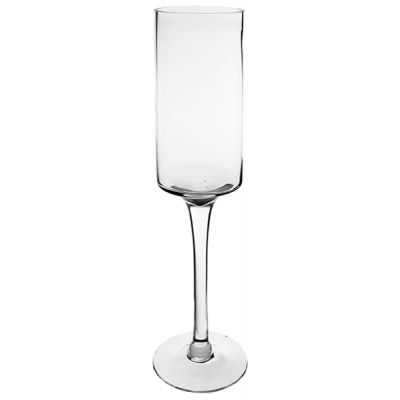 "20"" Contemporary Long Stem Glass Pillar Candle Holder"