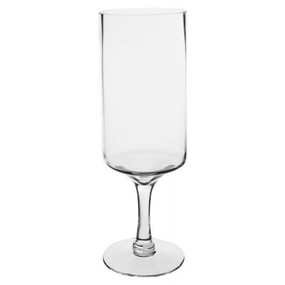 "16"" Modern Glass Footed Pillar Candle Holder"