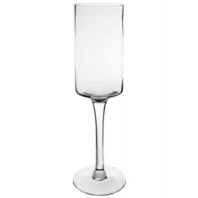 "20"" Modern Glass Footed Pillar Candle Holder"