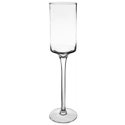 "24"" Modern Glass Footed Pillar Candle Holder"