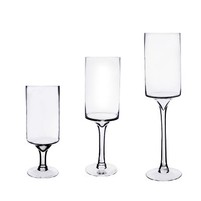 "16"" Contemporary Long Stem Glass Pillar Candle Holder"