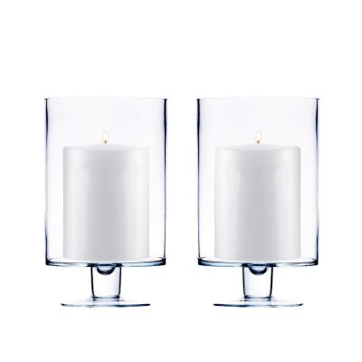 "H-6"", D-3.75"", Contemporary Short Stem Glass Candle Holder"