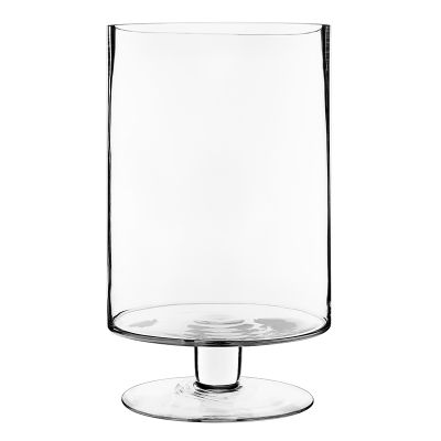"13.5"" Contemporary Short Stem Glass Candle Holder"